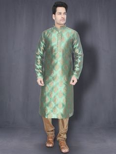 Basil Green & Copper Gold Kurta with Churidar