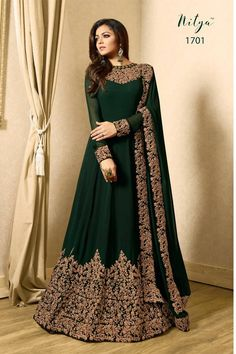 Buy Embroidered Georgette Abaya Style Suit in Dark Green online Item code Color Green Occasion Wedding Bollywood Theme Work Designer Dori Work Zari Fabric Georgette Gender Women Costumes Anarkali, Anarkali Gown, Anarkali Suits, Lehenga, Long Anarkali, Black Anarkali, Floor Length Anarkali, Indian Anarkali, Floor Length Dresses