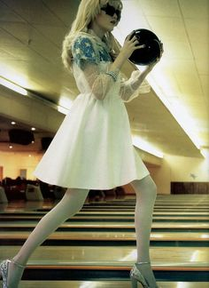 Not sure if we would recommend this outfit for bowling, but she does look like a boss.