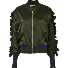Ruffle Detail Silk Bomber Jacket ($439) ❤ liked on Polyvore featuring outerwear, jackets, green, stripe jacket, striped bomber jacket, silk jacket, striped jacket and bomber style jacket