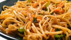 Loaded with crunchy veggies, this Hakka Noodles will be the perfect meal to go with your weekend vibes! Loaded with crunchy veggies, this Hakka Noodles will be the perfect meal to go with your weekend vibes! Noddle Recipes, Veg Recipes, Spicy Recipes, Indian Food Recipes, Vegetarian Recipes, Cooking Recipes, Veg Chowmein, Hakka Noodles Recipe, Side Dishes For Bbq