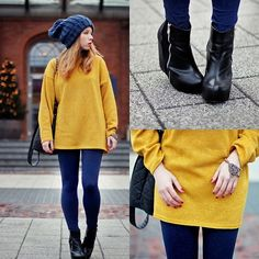 Yellow & navy blue (by Wioletta Mary Kate) http://lookbook.nu/look/3322585-yellow-navy-blue
