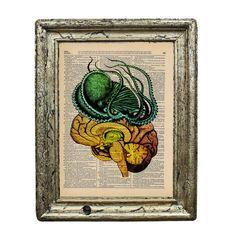Tentacle Tasty Brain Food Original Collage Print on by AvantPrint, $7.00