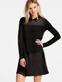 VICTORIA'S SECRET Faux-Leather Sweaterdress A Kiss of Cashmere $128