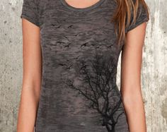 Women's Burnout T-Shirt - Birds Flying from Tree - Available in S, M, L and XL - Alternative Apparel Washed Black Burnout