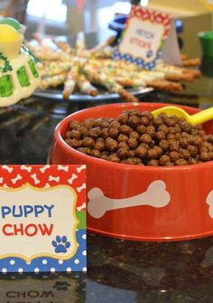 """Cereal """"puppy chow"""" at a Puppies Birthday Party! See more party planning ideas… Puppy Birthday Parties, Puppy Party, Dog Birthday, Birthday Party Themes, Birthday Ideas, Scooby Doo, Adoption Party, Paw Patrol Birthday, Animal Party"""