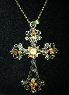 Vintage Style Rhinestone Cross Necklace by SecondHandGoddess, $7.00 #Fashion #Jewelry #TMW #Bizitalk @Misty Noble #RT