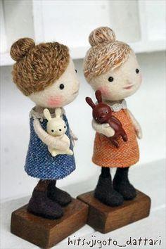 Felt dolls with toy bunnies - Hitsujigoto Dattari