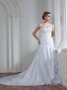 Find Wholesale - A-line Sweetheart Satin Lace Chapel Train Ruched Wedding Dresses at Pickeddresses.com