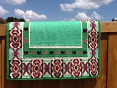 Beautiful hand-woven wool Yucca Flats Saddle Blanket. Produced in Europe. 34x38in, about 5 lbs.
