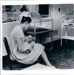 1962 New York Birmingham General Hospital Nurse with Baby Wire Photo | eBay