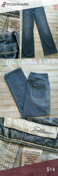 "Chico's Platinum Jeans Excellent condition. ""Premium fit with a platinum finish.""  Straight leg, 30"" inseam. Chico's Jeans Straight Leg"