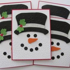 Your place to buy and sell all things handmade Embossed Snowman Christmas Cards Embossed Snowman Cards Christmas Card Crafts, Homemade Christmas Cards, Christmas Cards To Make, Christmas Snowman, Homemade Cards, Christmas Decorations, Diy Holiday Cards, Cards Diy, Cricut Christmas Cards