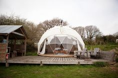 Dome and sauna at Fforest Camp near Cardigan, Wales. Photographed by Jonathan Cherry.