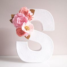 Floral Letter in shades of pinks  gold leaves by kireihandmade