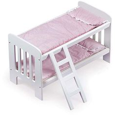 Badger Basket doll bunkbed. Fits dolls up to 20 inches. If you can keep an eye out you can find it on Amazon for $22. A great buy!
