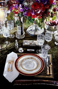 An elegant, lavish and festive dinner setting by Ralph Lauren Home