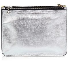 Alexander McQueen Metallic Leather Double-Pouch Cosmetic Case found on Polyvore
