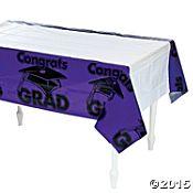"""Purple """"Congrats Grad"""" Tablecloth"""