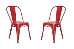 Poly and Bark Tolix Style Bistro A Dining Side Chair, Red...