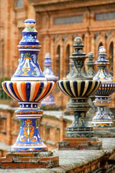 I'm so jealous of all the people I know who are abroad in Spain right now! Plaza de Espana, Sevilla, Andalusia, Spain ~ love the painted ceramic urns! Malaga, Granada, Art And Architecture, Architecture Details, Seville Spain, Andalusia Spain, Madrid, Iberian Peninsula, Spain And Portugal
