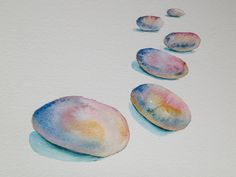 Original watercolor painting colorful stones , wall decor by SuayaArt on Etsy