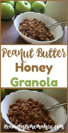 Easy Peanut Butter Honey Granola Use whole food ingredients and save a load of money when you make t Healthy Granola Bars, Vegan Granola, Easy Weekday Meals, Peanut Butter Roll, Gluten Free Sweets, Crockpot Recipes, Yummy Recipes, Cooking Recipes, Whole Food Recipes