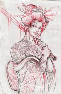 Japanese geisha sketch - Google Search