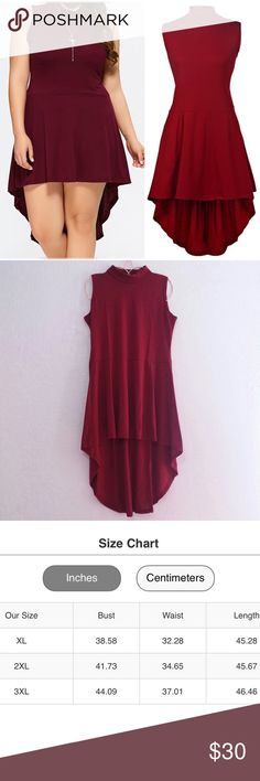 Brick Red Mock Neck High-Low Dress Size 2XL & 3XL - Size Chart Available To Guide You Plus Size Dresses High Low