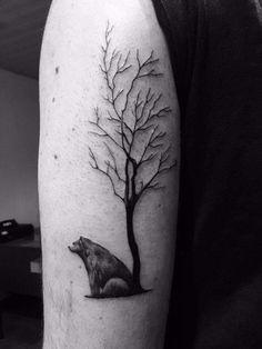 Bear sitting against tree tattoo #tattoo #tree #bear #beartree