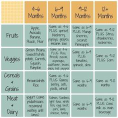 Infant food introduction schedule for Baby Led Weaning