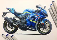 Bike Sketch, Car Sketch, Car Drawings, Cartoon Drawings, Car Design Sketch, Design Art, Bike Drawing, Copic Marker Art, Motorbike Design
