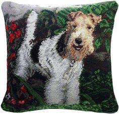 "Wire Fox Terrier Dog - 14"" Needlepoint Dog Pillow"