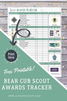 Bear Scout Awards Tracker Track your Bear Cub Scouts Awards with this award tracking printable. Mark off when they know their cub scout law, cub scout oath, when they finish a requirement and more. Cub Scout Oath, Cub Scouts Bear, Wolf Scouts, Scout Leader, Cub Scout Activities, Scout Mom, Bear Cubs, Education Quotes, Scouts