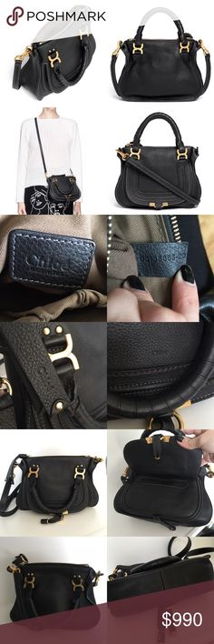 """Chloe Mini Baby Marcie Crossbody Bag in Black Excellent condition. See last photo: leather is a little worn on the part that connects the bag to the strap, and the gold hardware is slightly scuffed in a couple spots.   Equestrian-inspired stitching; goldtone buckles; pocket and slip pocket at interior; Leather-wrapped handles; detachable shoulder strap; made in Italy 7.00"""" height x 9.25"""" width x 3"""""""" depth 3.5"""" handle drop, 21"""" strap drop I will ONLY accept payments through poshmark & my…"""