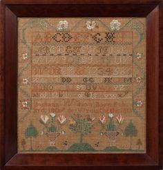 Sampler By Juliann Wilson, Nottingham West, NH, 1818, M Finkel & Daughter, Philadelphia, PA