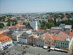 Klatovy - Altstadt mit Weißem Turm (gesehen vom Schwarzen Turm)