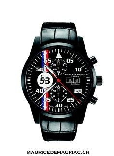 Le Mans Racing in black. Swiss made watches from Maurice de Mauriac.  watches for men.  http://www.mauricedemauriac.ch/
