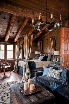 Comfortable Rustic Bedroom Decorating Ideas - Home Design Rustic Bedroom Design, Rustic Master Bedroom, Home Decor Bedroom, Bedroom Ideas, Bedroom Romantic, Bedroom Furniture, Rustic Furniture, Rustic Bedrooms, Rustic Room