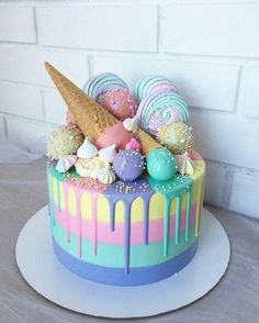 Candy Birthday Cakes, Birthday Cakes For Girls, Sweet Birthday Cake, Ice Cream Birthday Cake, Torta Candy, Pastel Cakes, Beautiful Birthday Cakes, Best Birthday Cake Designs, Ice Cream Party