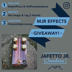 One week left to enter the Jafetto Jr. giveaway! Regram this second-chance post to double your odds and sharing will also give you 15% off any custom pedal order for the next 30 days!  Rules: 1. Follow @mjreffects and @effectsdatabase  2. Repost and tag 3 friends 3. Use hashtag #mjrpedalgiveaway  Shipping is covered even for international winners  And give my talented graphic designer a follow! @high_stick_creative  Winner will be selected next Wednesday! #mjreffects #custompedals…