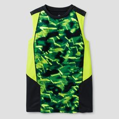 Boys' Novelty Sleeveless Tech T-Shirt - C9 Champion - Charcoal (Grey) Print XL, Boy's
