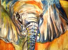 NEW- Expressionistic Watercolor and charcoal drawing - The Elephant in the Room - 22x28 inches - Endangered Collection- Prints for Sale