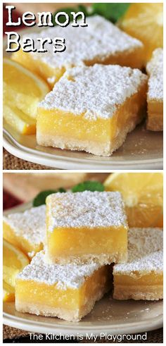 Lemon Bars ~ The classic lemon lover's treat! Tart & sweet at the same time, loaded with luscious lemon filling & flavor -- truly what's not to love? And believe it or not, these lemon beauties are easy to make, too. www.thekitchenismyplayground.com Lemon Dessert Recipes, Lemon Recipes, Easy Desserts, Baking Recipes, Delicious Desserts, Yummy Food, Potluck Desserts, Fun Recipes, Fancy Cake