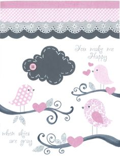 Nursery Art Prints, Baby Girl Nursery, Pink and Grey Nursery Art, Baby Bird Nursery, Bird Wall Art Print, Baby Cloud Art, 8x10 print. $17.00, via Etsy.