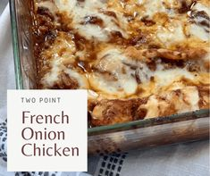 French Onion Chicken Bake - Pound Dropper in 2020 Poulet Weight Watchers, Plats Weight Watchers, Weight Watcher Dinners, Weight Watchers Chicken, Ww Recipes, Cooking Recipes, Healthy Recipes, Recipies, Dinner Recipes