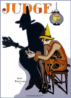 Deco Flapper 'Witchcraft' Vintage Halloween Magazine Cover