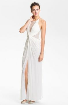 White Lace Inset Knot Front Silk Chiffon Gown