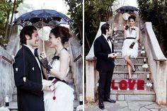 Kenwood Inn Sonoma Wedding Photos. Red, black and white wedding ideas. wedding umbrella parasol