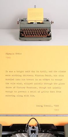 The first lines  of 1989 by Boris Vian, 1949. Typed on a rare Olympia Orbis typewriter manufactured in 1949.